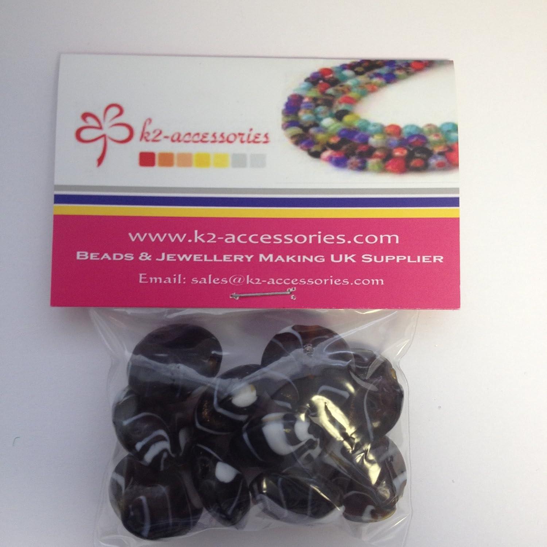 20mm 10 beads 10 x Lampwork Flat Round Glass Beads A3930