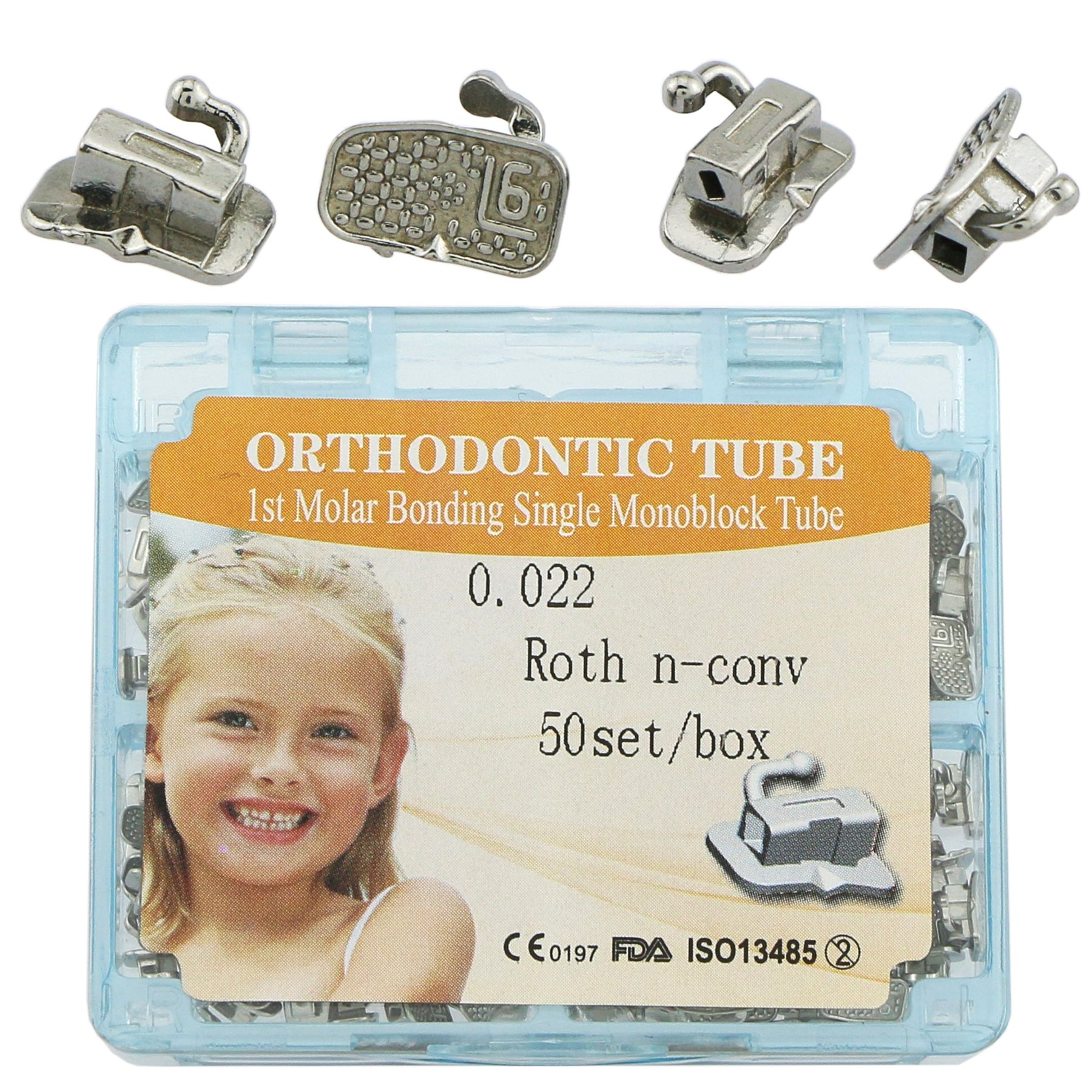 200 Pieces of Orthodontic Tubes First Molar Dental Roth 0.022 Bonding non-convertible Monoblock Single Buccal tubes 50 Sets (FDA PROVED)