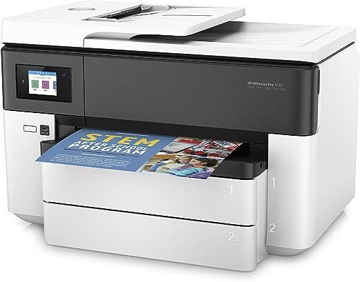 HP Officejet Pro 7730 – Impresora multifunción de formato ancho (impresión A3 y A4, pantalla táctil en color, memoria 512 MB, AAD de 35 hojas, doble cara, fax, AirPrint, bandeja extra), color