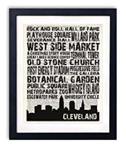 Cleveland Landmarks Skyline and Typography Dictionary Art Print 8x10