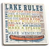 Lake Rules - Rustic Typography (Set of 4 Ceramic Coasters - Cork-backed, Absorbent)