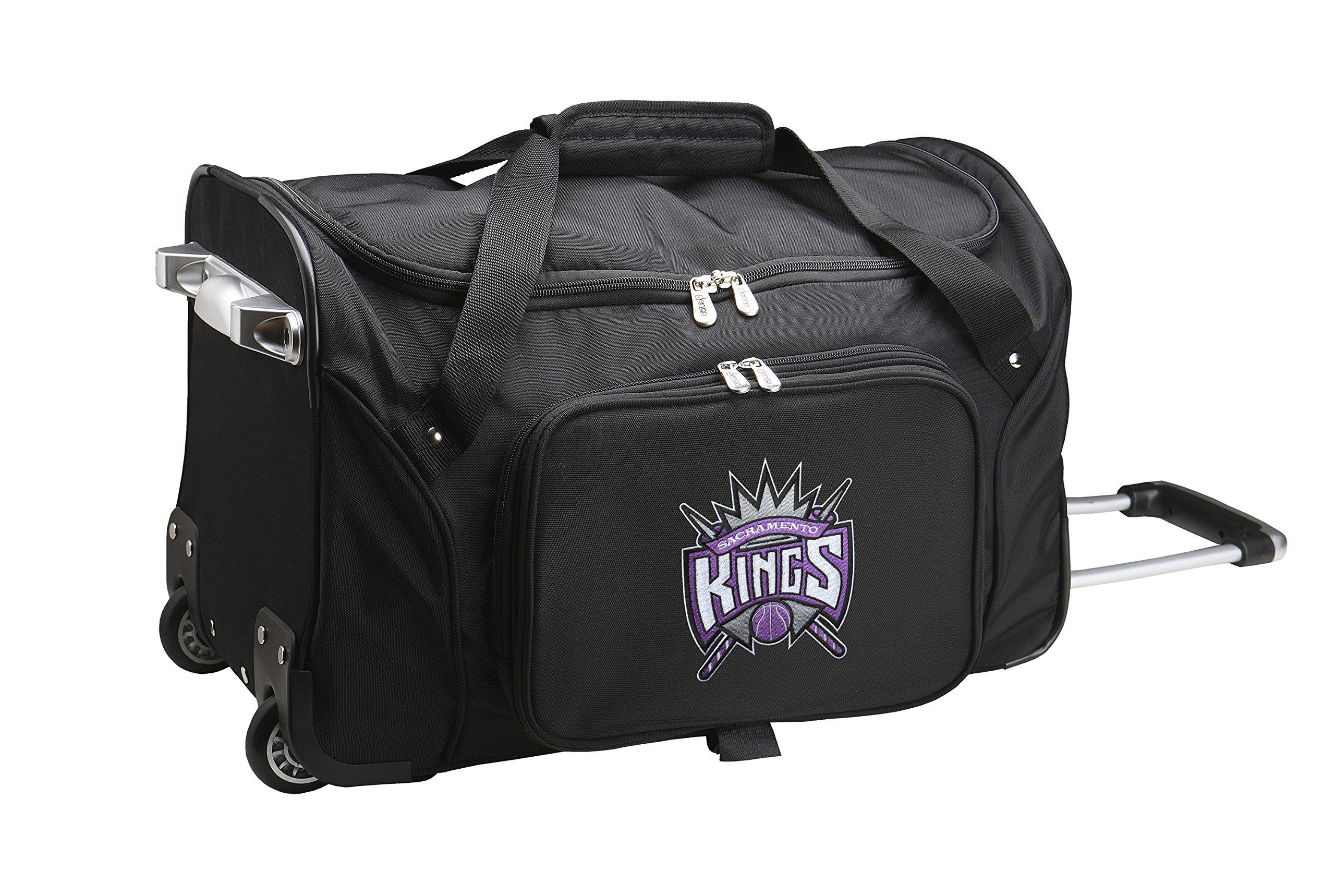 NBA Sacramento Kings Wheeled Duffle Bag, 22 x 12 x 5.5'', Black