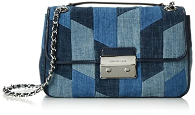 c09b2107924e Image Unavailable. Image not available for. Color: Michael Kors Womens  Sloan Denim Patchwork Shoulder Handbag ...