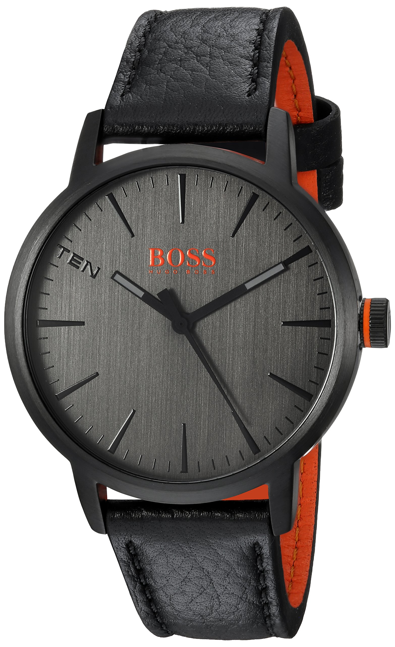 HUGO BOSS Men's Copenhagen Stainless Steel Quartz Watch with Leather Strap, Black, 20 (Model: 1550055)