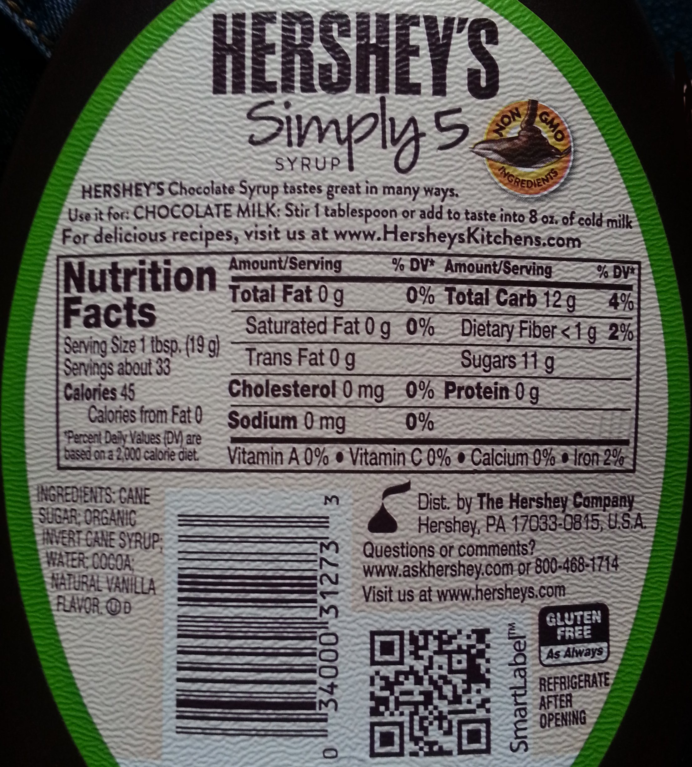 Hershey's Simply 5 Chocolate Syrup, 21.8 Ounce