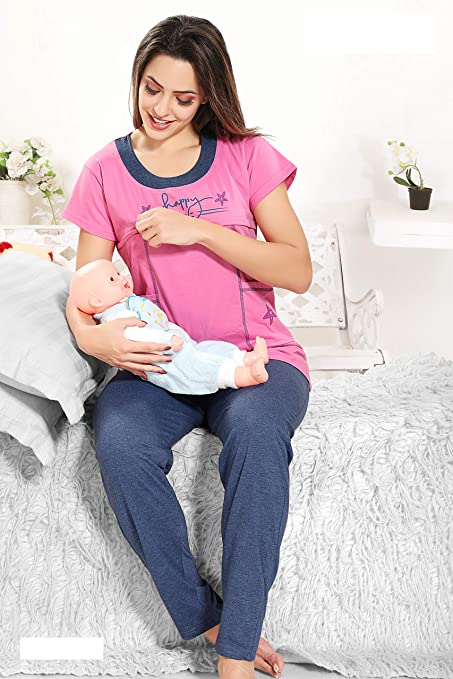 58ddc14f0fe70 Buy Baby Grow Mother Feeding Top and Pyjama Night wear (Pink, XL) Online at  Low Prices in India - Amazon.in