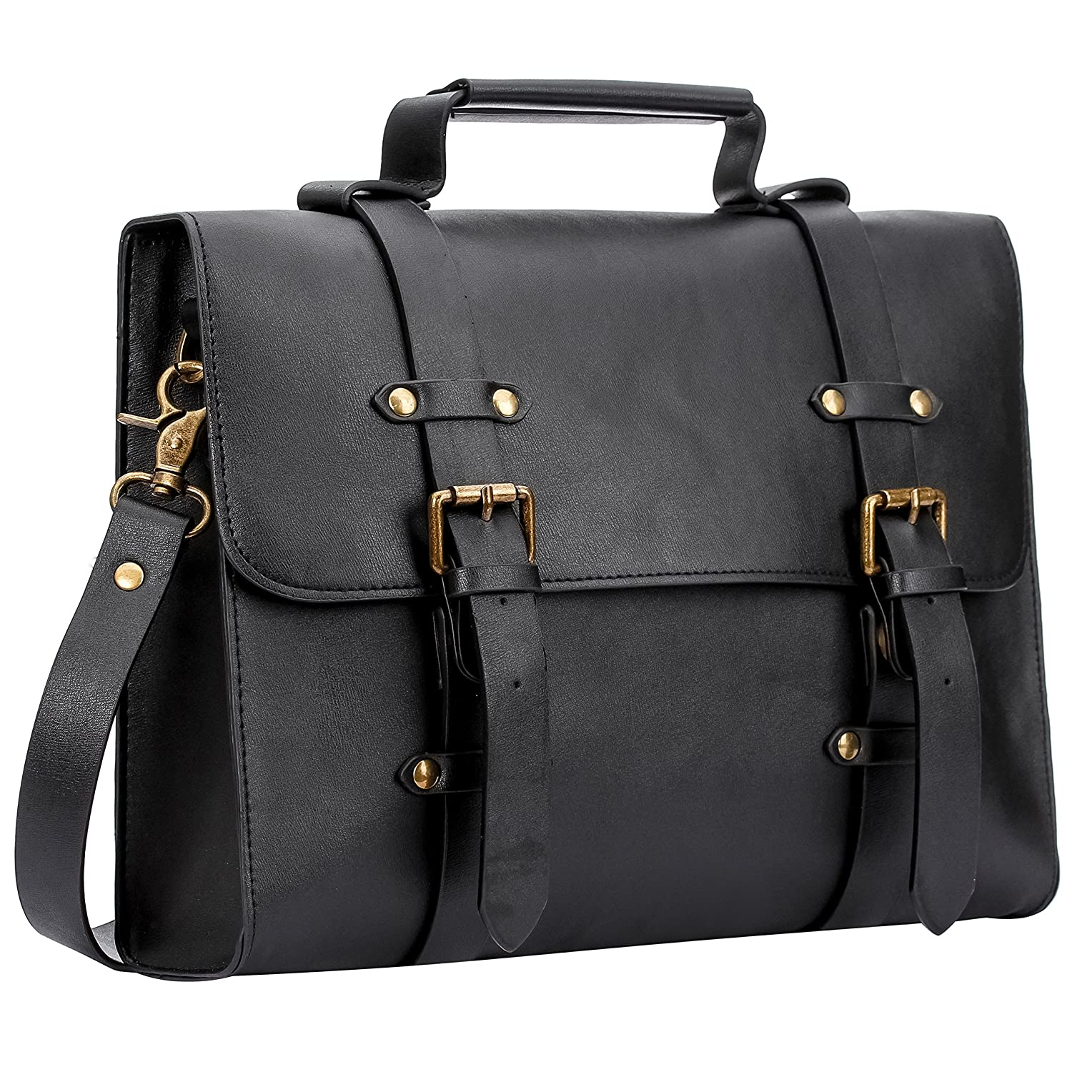 Women's PU Leather Laptop Bag Tote Messenger Bag Crossbody Satchel Briefcase Handbag (Black