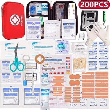 HONYAO Botiquín de Primeros Auxilios, Mini Kit de Supervivencia - Bolsa Médico de Emergencia Completo para Coche Barco Motocicleta El Hogar Lugar de Trabajo Mochila y Acampar Senderismo Viaje: Amazon.es: Deportes y
