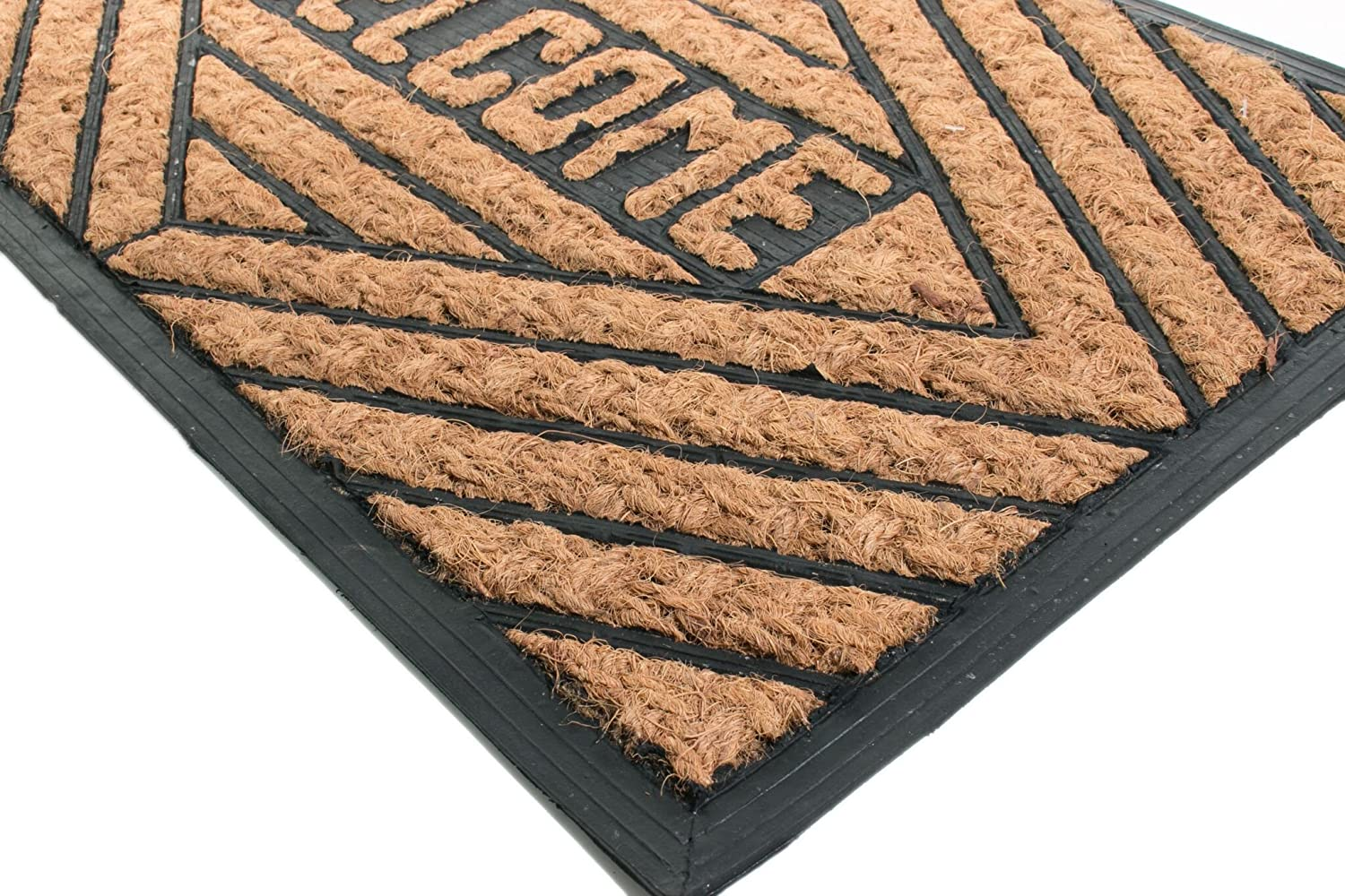 Lily Imports Decor Half Round Rubber Back Coir Doormat 18-Inch by 30-Inch