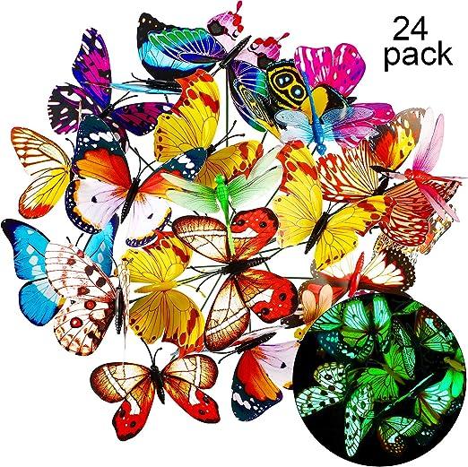 Juego de 20 estacas de mariposas de jardín y 4 piezas de estacas de libélulas para decoración de jardín, patio, fiesta, 24 piezas, Luminoso.: Amazon.es: Hogar