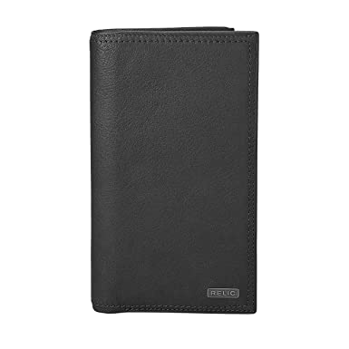 98967ad80976fe Relic by Fossil Men's Mark Leather Checkbook Wallet, Black at Amazon ...