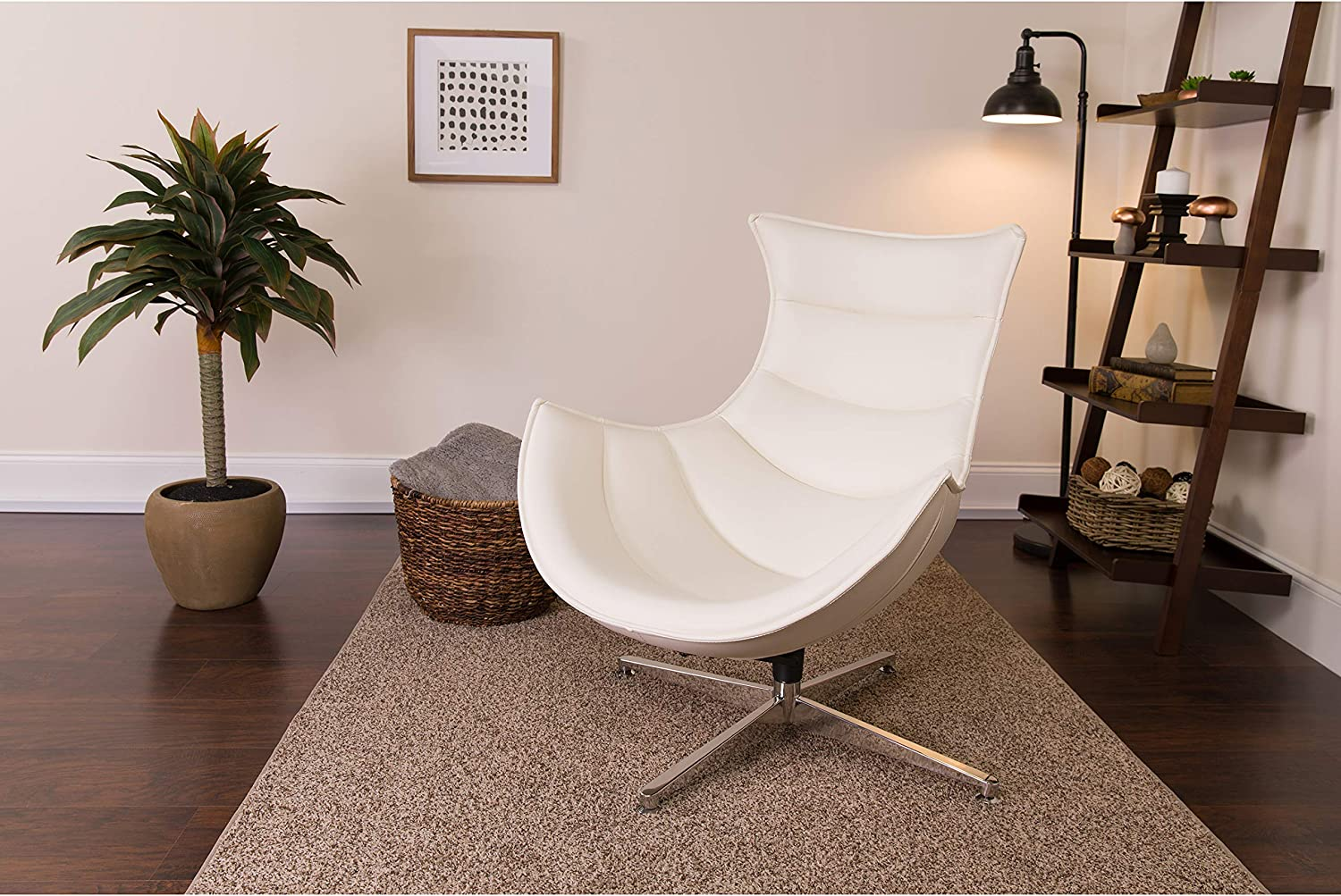 Amazon Com Flash Furniture Leather Cocoon Chair Melrose White Furniture Decor