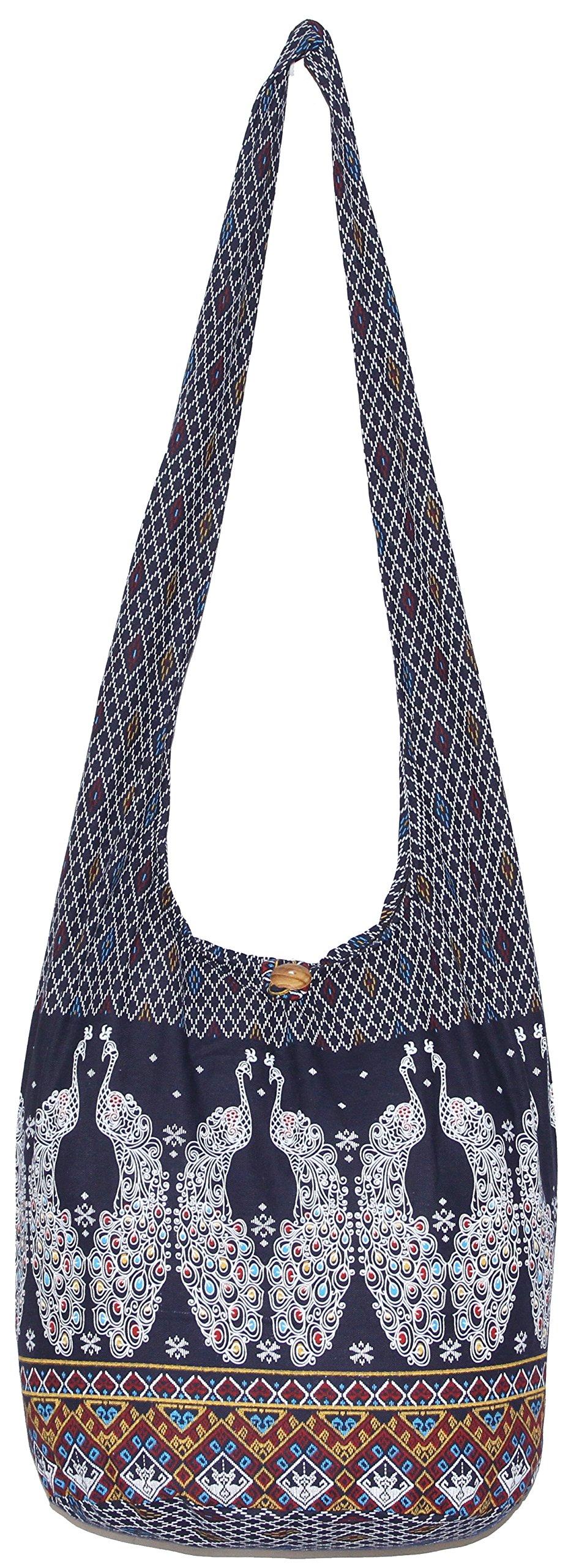 Peacock Colorful Bohemian Hobo Hippie Crossbody Shoulder Bag (DarkBlue)