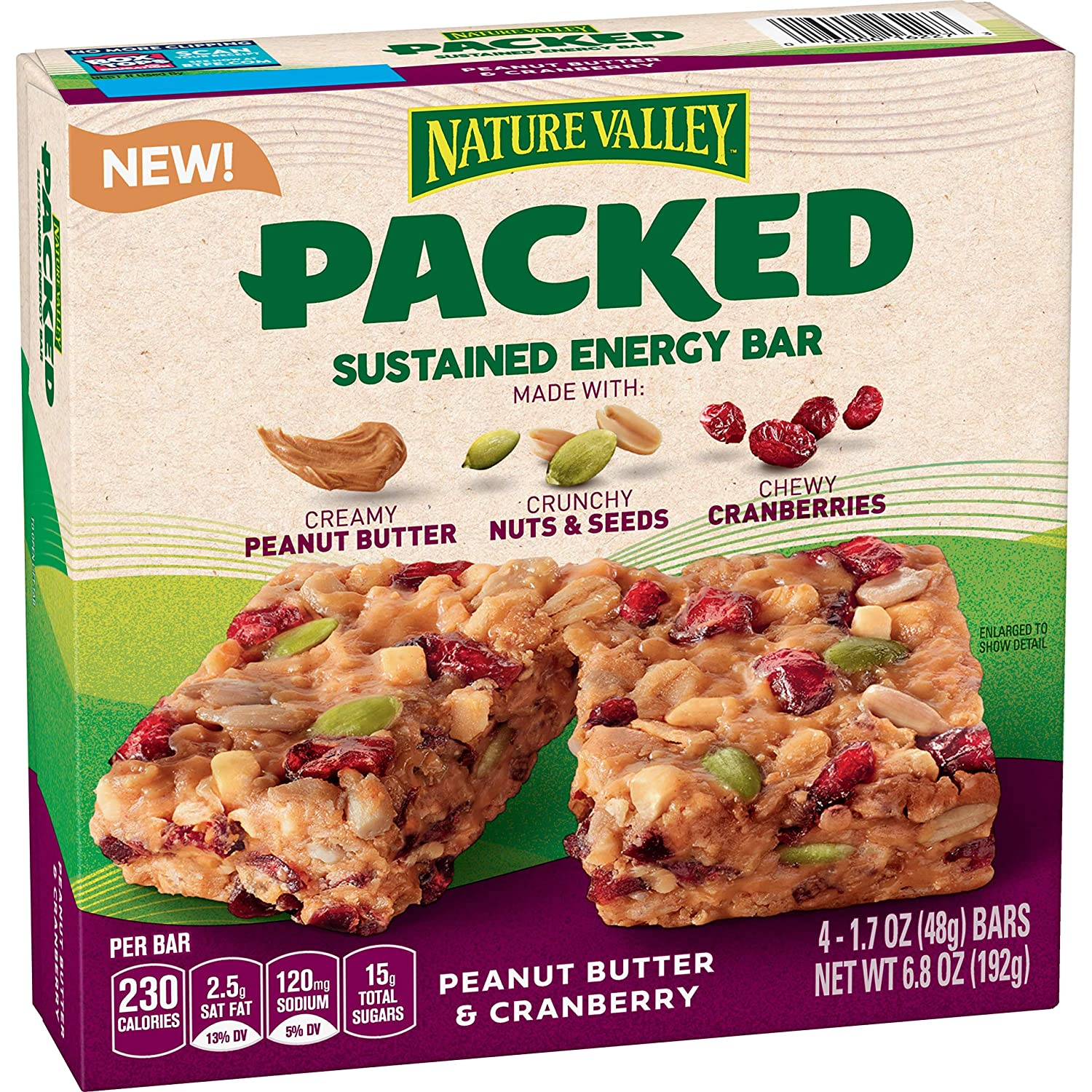 Nature Valley Packed Sustained Energy Bar Peanut Butter & Cranberry, 4 Count