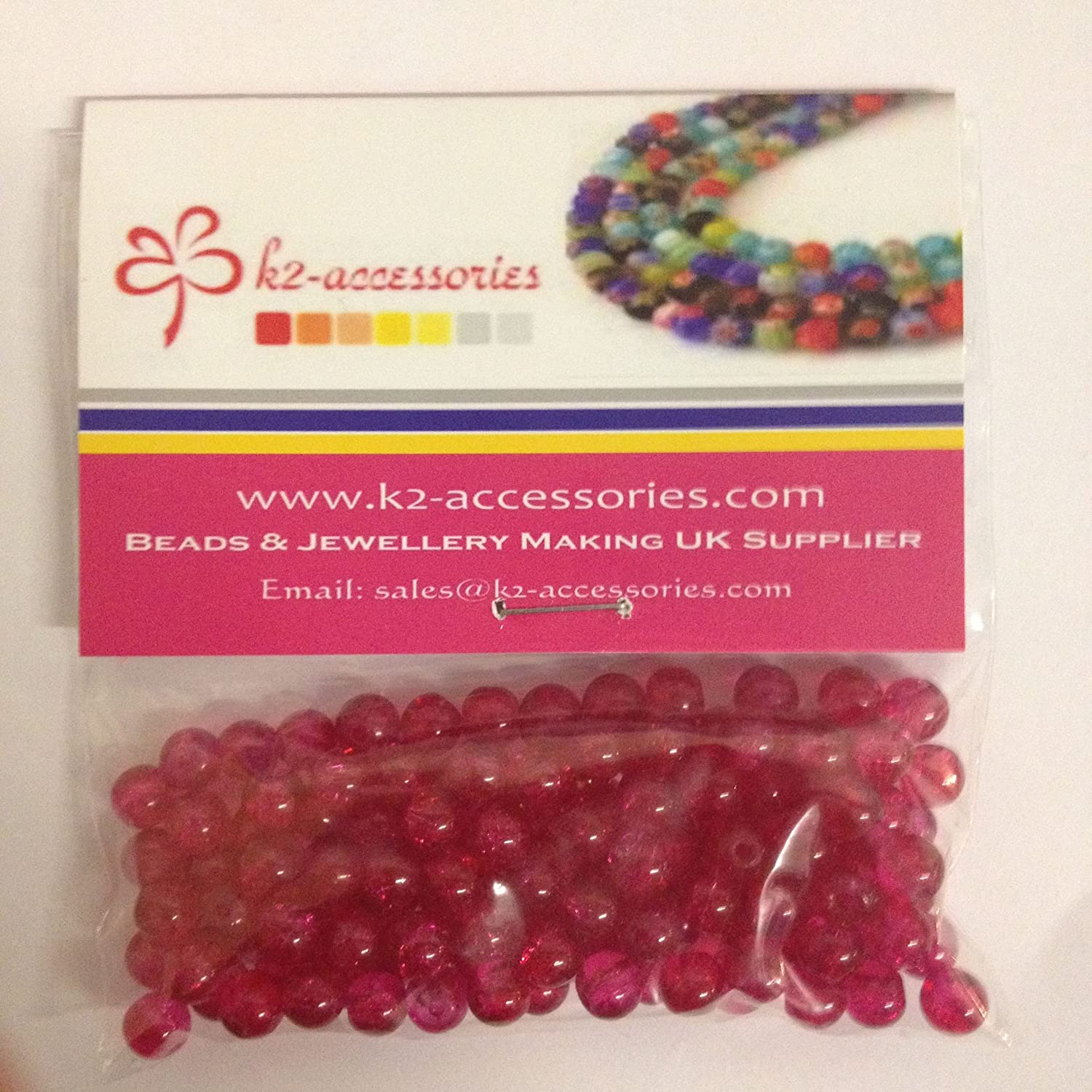 100 pieces 6mm Crackle Glass Beads - Shocking Pink - A1630 k2-accessories