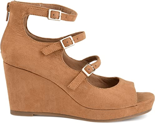 Open-Toe Strappy Faux Suede Wedges