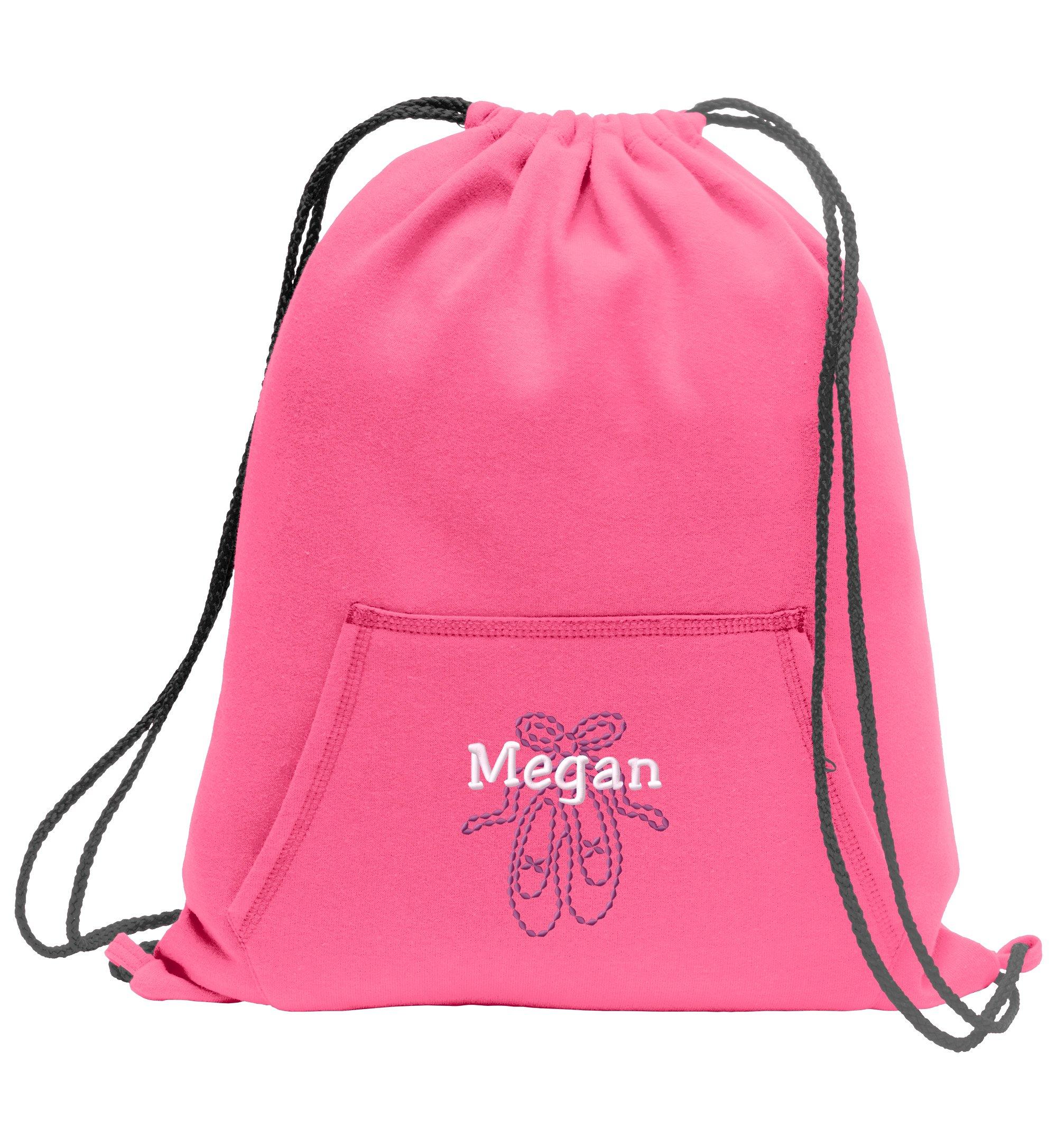 Ballet Shoes Personalized - Sweatshirt Cinch Bag with Kangaroo Pocket (Neon Pink)