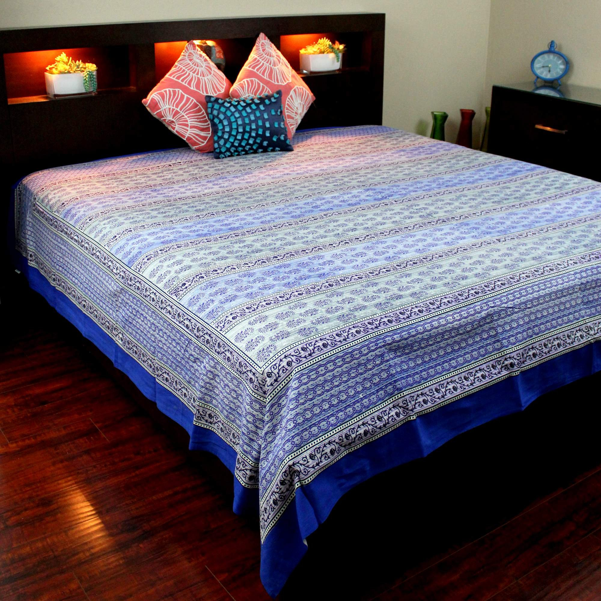 India Arts Handmade 100% Cotton Floral Buti Tapestry Tablecloth Bedspread Coverlet Beach Sheet Throw Blanket Blue Full 88x106