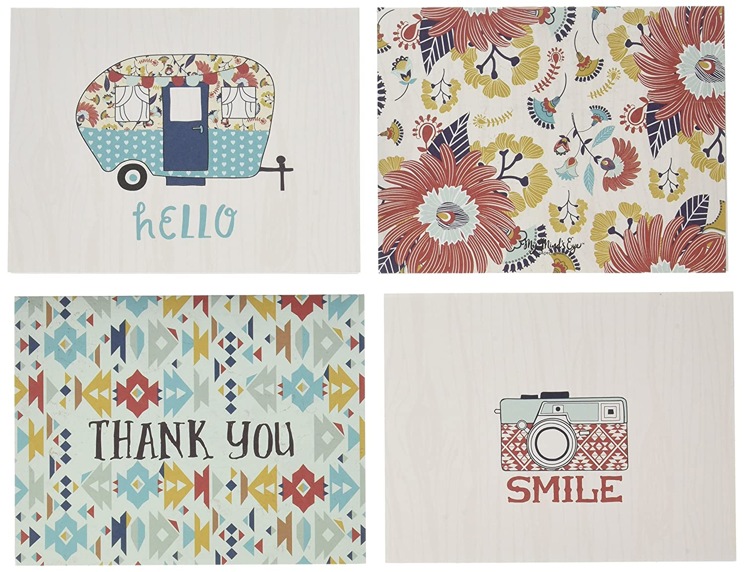 My Minds Eye HC1015 Happy Camper Cards/Envelopes, Multicolor by My Mind's Eye B01BPWFRP4