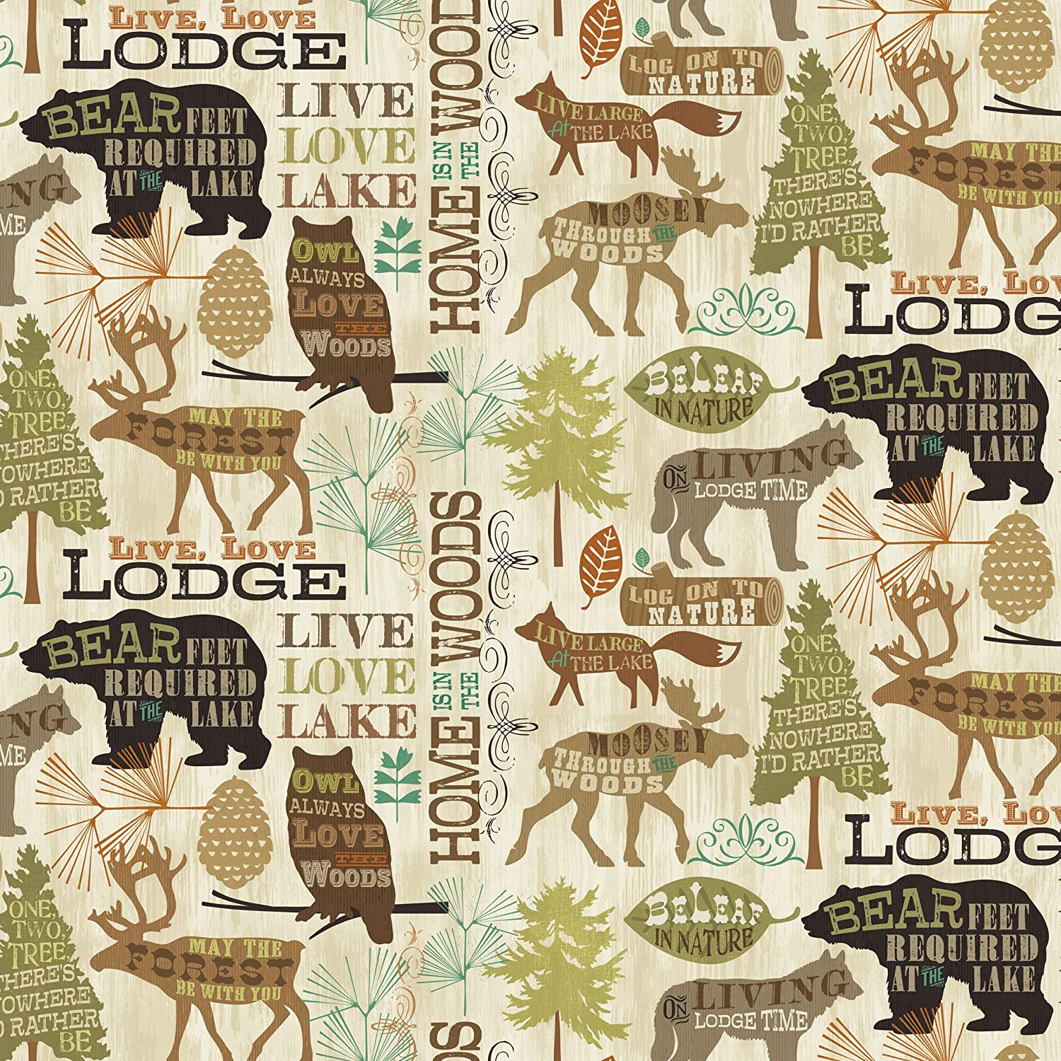 Lodge Home Cotton Fabric by The Yard