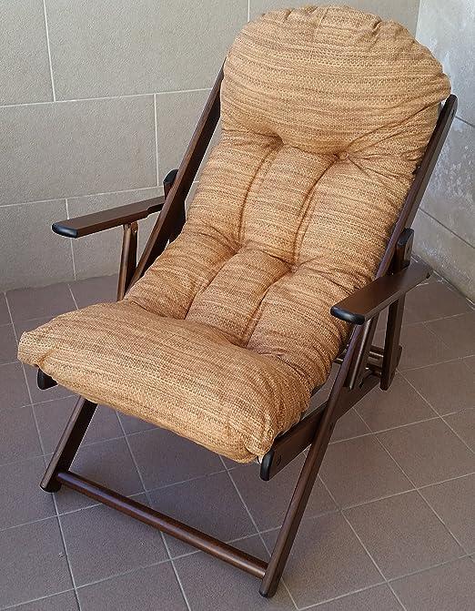 Butaca relax de madera Harmony Lusso, reclinable y plegable con cojín superacolchado, 100 cm de altura, ideal para sala de estar, cocina y salón o en exteriores: Amazon.es: Jardín