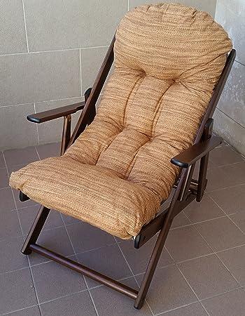 Materassino Per Sedia Sdraio.Poltrona Sedia Sdraio Relax In Legno Pieghevole Harmony Lusso