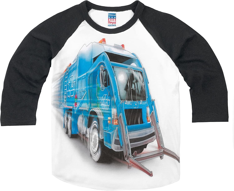 Shirts That Go Little Boys' Big Blue Garbage Truck Raglan T-Shirt