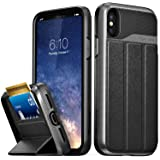 iPhone X Wallet Case, Vena [vCommute][Military Grade Drop Protection] Flip Leather Cover Card Slot Holder with KickStand for Apple iPhone X/10 (Space Gray/Black)