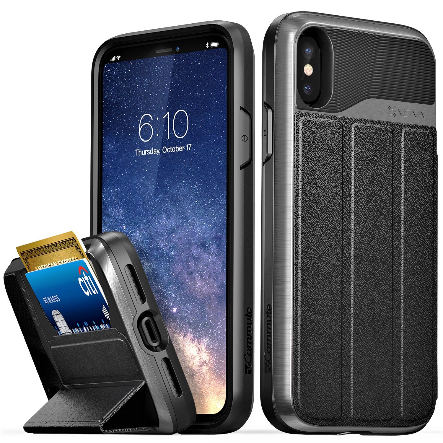 iPhone X Wallet Case, Vena [vCommute][Military Grade Drop Protection] Flip Leather Cover Card Slot Holder with KickStand for Apple iPhone X / 10 (Space Gray/Black)