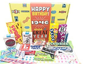 Woodstock Candy ~ 1946 75th Birthday Gift Box of Nostalgic Retro Candy from Childhood for 75 Year Old Man or Woman Born 1946