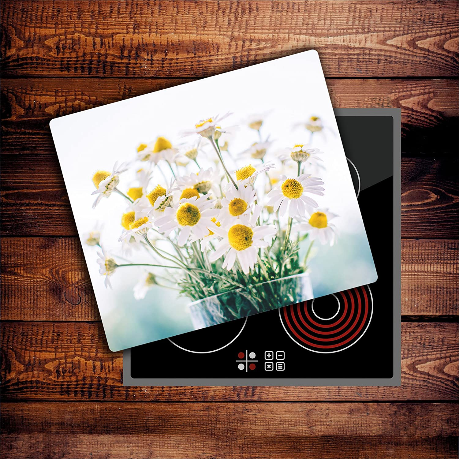 DAMU | Hob Covers for Induction Ceramic Hob Electric Cookers 60x52 cm Hardened Glass Splashback For Kitchen Stove Protector Hob Cover Chopping Board Nature