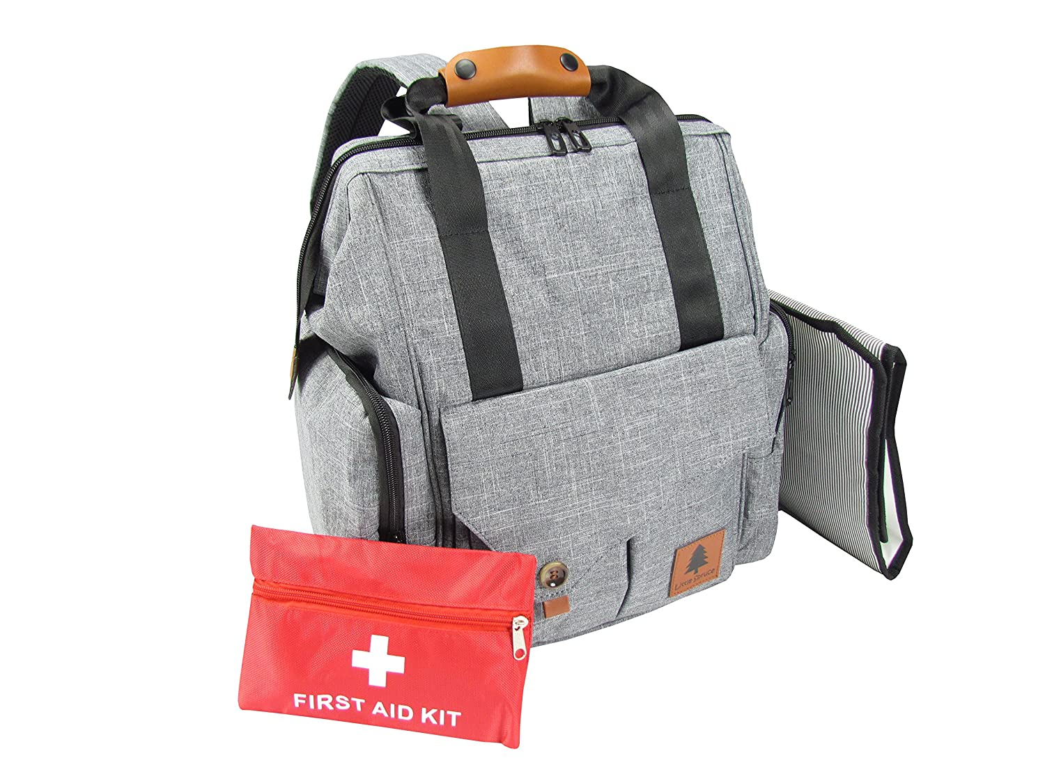 Little Spruce Diaper Bag Backpack with Child First Aid Kit | Stroller Straps | Water Resistant | 5 Insulated Pockets | and Extra Large Infant Changing Pad Elevated Stock