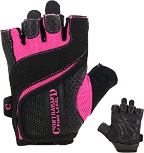 Contraband Pink Label 5137 Womens Padded Weight Lifting Gloves w/ Grip-Lock Padding (Pair) - Machine Washable Fingerless Workout Gloves Designed Specifically for Women - Contraband Sports