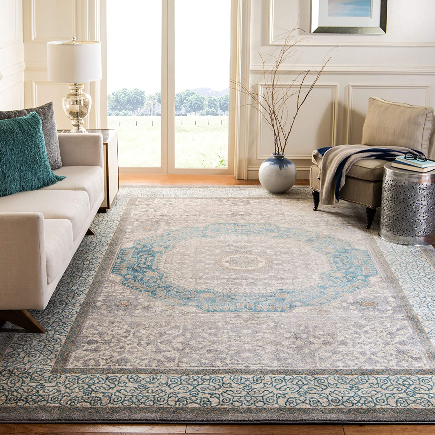 Safavieh Sofia Collection Sof365a Vintage Oriental Distressed Non Shedding Stain Resistant Living Room Bedroom Area Rug 9 X 12 Light Grey Blue Furniture Decor