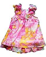 Blueberi Boulevard Baby Girls Multi Paisley Chiffon Dress, Pink