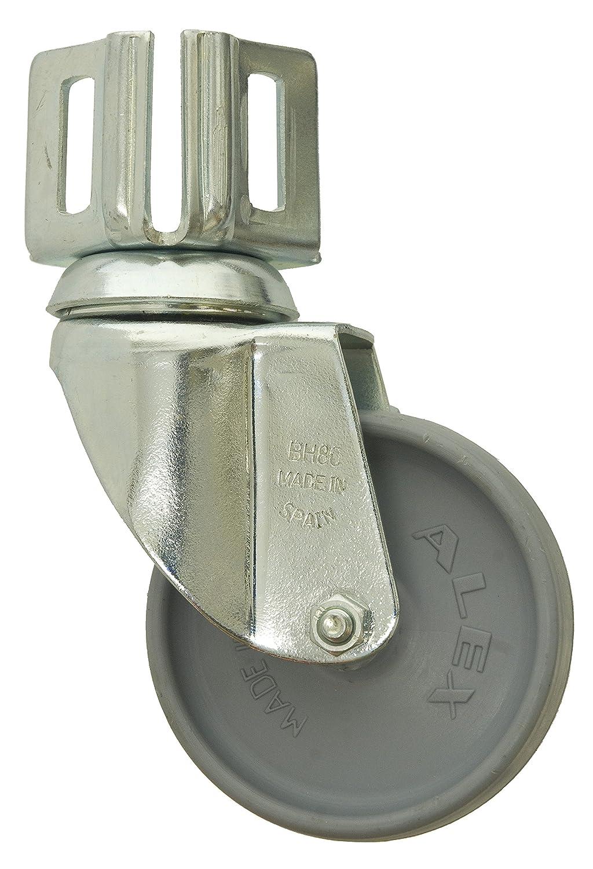 Simonrack 52209000001 - Rueda para estantería (80 mm, con pie, sin freno, incluye 2 tornillos y tuercas, 70 kg, acero) 8435104941850