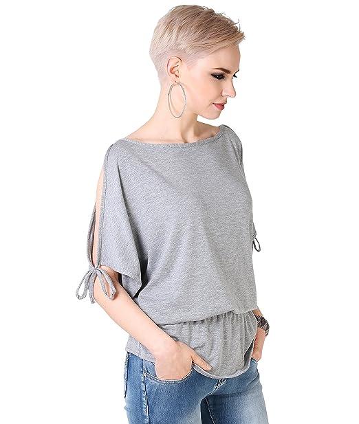 Krisp - Blusa holgada para mujer, cuello barco, manga murciélago gris gris