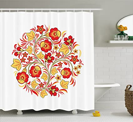 Lunarable Yellow And Red Shower Curtain By Floral Bouquet Wedding Inspired Complexity Arising From Simplicity