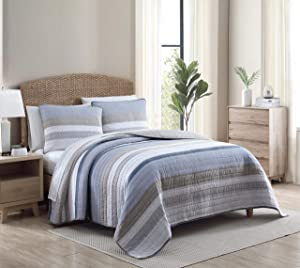 Nautica Home | Galewood Collection | Bedding Set-Premium Cotton Ultra Soft Quilt Coverlet, Comfortable All Season Stylish Bedspread, Queen, Blue