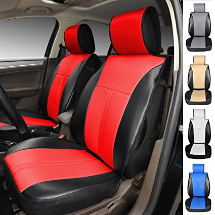 120908S Black Red 2 Front Car Seat Cover Cushions Leather Like Vinyl Compatible