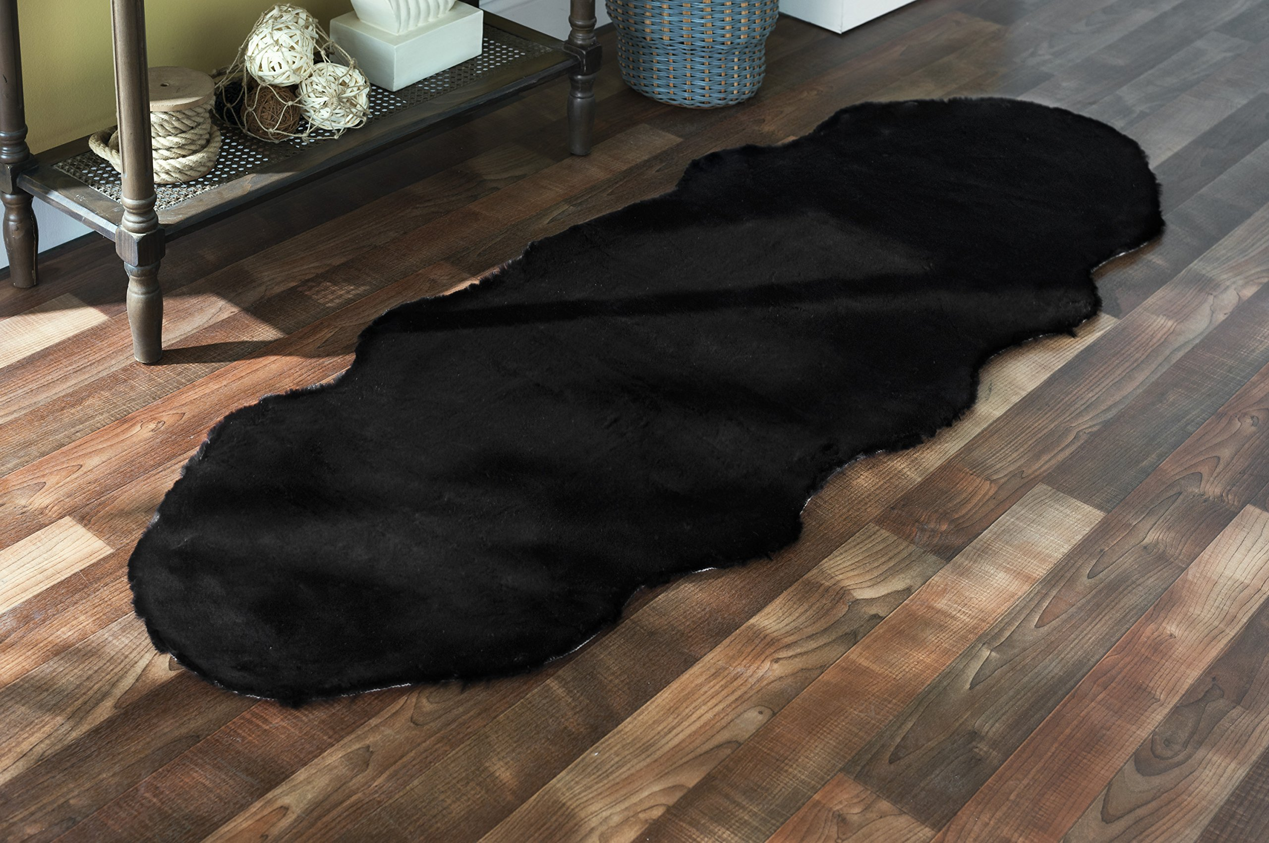 Walk on Me Faux Rabbit Area Rug - Plush, Fur Skin, Sheepskin, Suede Hide, 100% Polyester, Washable Animal Rug - Extreme Comfort, Softness, Stylish - Living Room & Dining Area (24''x72'', Black)