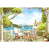 wandmotiv24 Fotobehang Balkon villa meer XS 150 x 105 cm - 3 delen Fotobehang, muurschildering, motiefbehang…