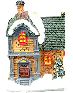small light up house light brown brick battery operated led christmas ornaments - Small Light Up Christmas Decorations