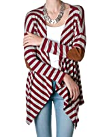 Trend Notes Women's Striped Open Cardigan With Elbow Patches