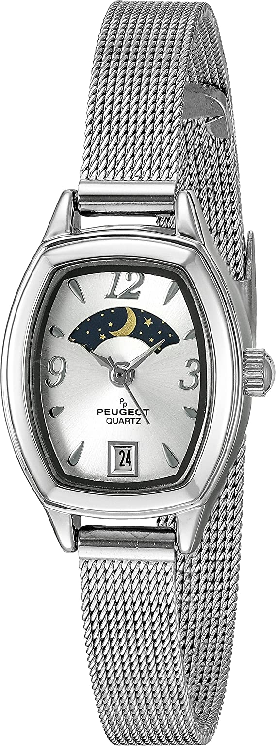 Peugeot Women's Slim Mesh Decorative Sun Moon Phase Vintage Dress Watch with Date