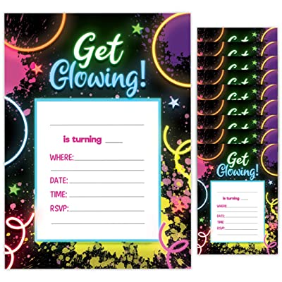 Neon Happy Birthday Invitations Invite Cards (10 Count) With Envelopes Boys Girls Kids Party (10ct): Toys & Games