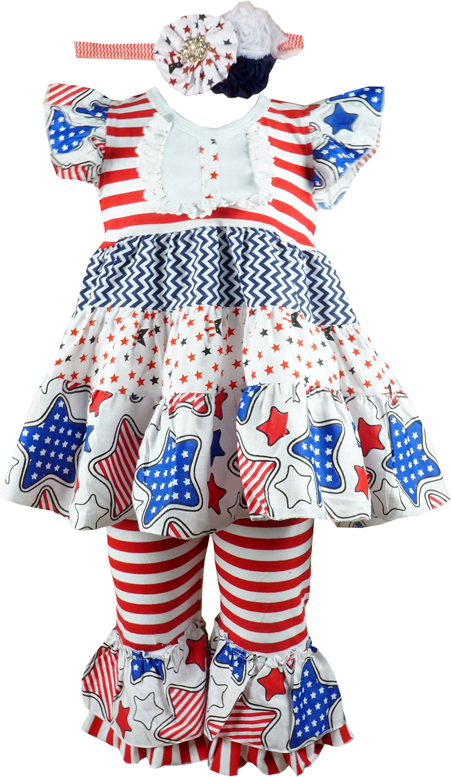 Baby Toddler Little Girls Americana Patriotic Stars Clothing Set 6 by Angeline