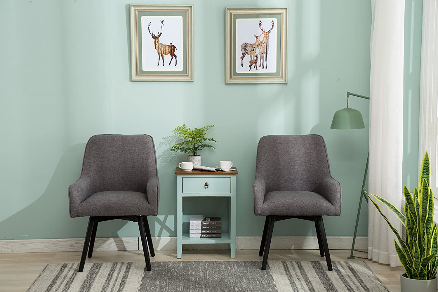 Kitchen Swivel Dining Chair with Sturdy Metal Legs Accent Armless Cushion Side Chairs Set of 2