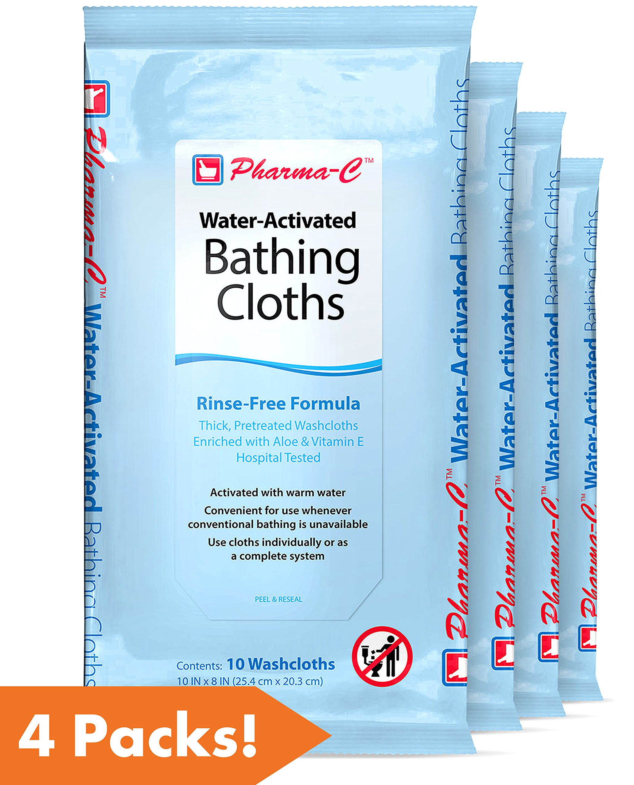 Pharma-C-Wipes Water Activated Bathing Cloths - Rinse Free - Thick, Pretreated Washcloths (4 packs of 10 Wipes, 40 Total Wipes)