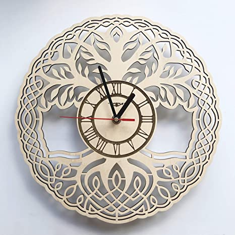 Amazon Com Tree Of Life Wall Clock Made Of Wood Non Ticking Battery Operated Clocks Perfect And Beautifully Cut Decorate Your Home With Modern Wall Art Unique Gift For